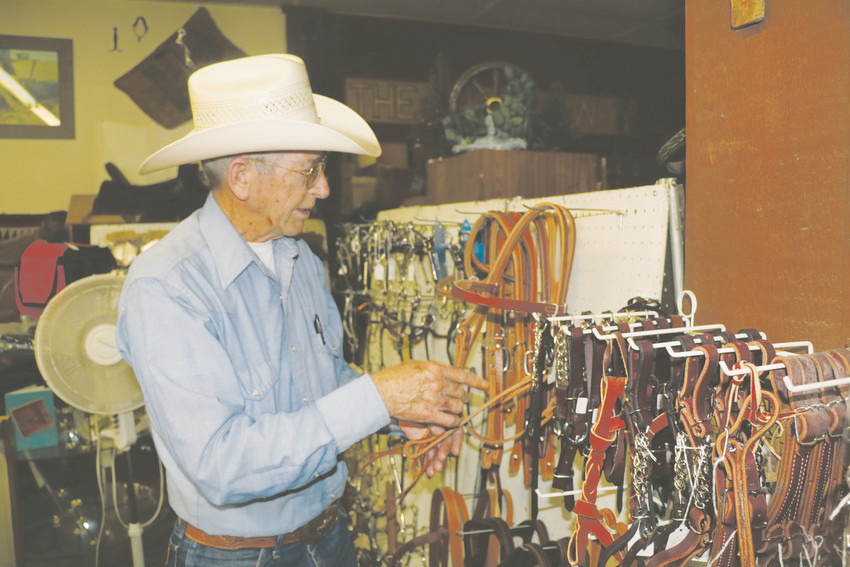 Tom Knowles, owner of The Wildflower Saddles and Tack Shop at 122 Main Street in Elizabeth talks about some of the new tack items he stocks in his store. Knowles makes most of the new items on display and he can restore or repair saddles for customers.