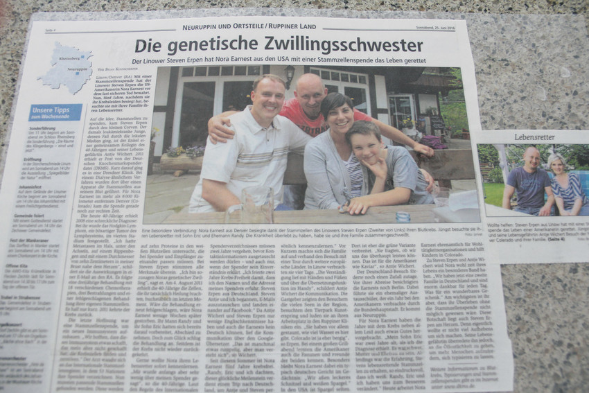 The laminated German newspaper article about Nora Earnest and her once-anonymous stem cell donor whose donation saved her life after a years-long struggle with cancer. The article sat in her home Oct. 4 as she recounted her experience of writing him letters and meeting him in Germany.