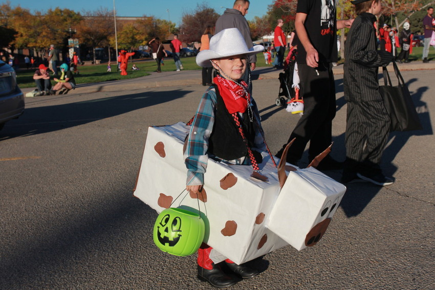 Children come ready for work at Wheat Ridge's annual trunk or treat event.