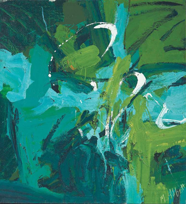 """All Green"" by Mary Abbott, c. 1954, oil paint on Linen, 49""x45 1/8 'in the Denver art Museum: gift of Janis and John McCormick, was included in the exhibit, ""Women in Abstract Expressionism."" Photo courtesy Denver Art Museum"