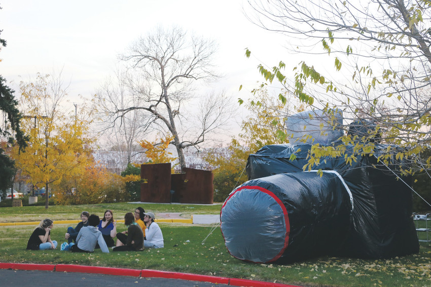 As part of their freshman seminar, Rocky Mountain College of Art + Design students created inflatable sculptures that are on display all over the campus.