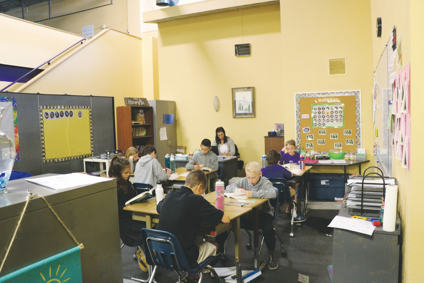 Sixth grade students study in a quiet space of Kingsway Academy, 4760 Castleton Way, Castle Rock. The private Christian school opened its doors on Sept. 6.