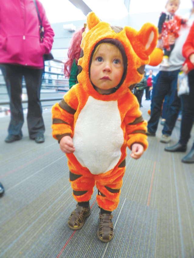 "Bode Saunders, 1, doesn't quite have the whole ""fierce tiger"" thing down yet."