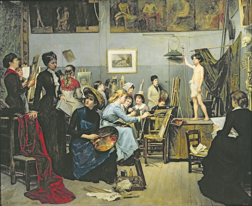 """In the Studio"" 1881, by Marie Bashkirsteff (Ukranian 1858-1884) Oil on Canvas 60 5/8'x73 ¼'. Dnipropetrovsk State Art Museum."