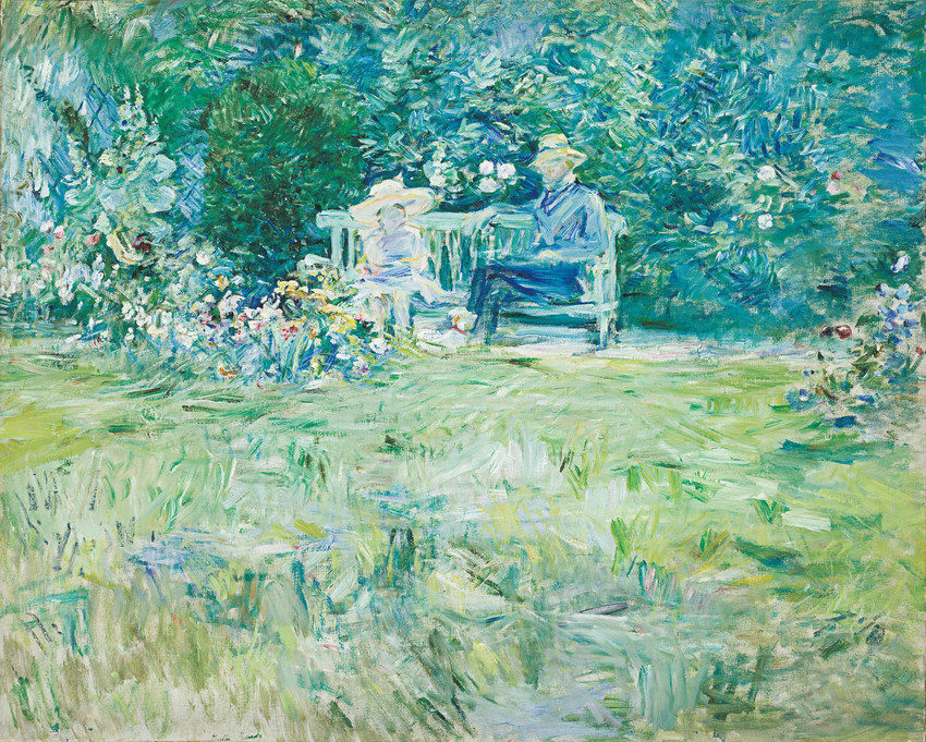 """The Lesson in the Garden"" 1886, by Berthe Morisot (French 1841-1895) Oil on Canvas 23 9/16'x28 ¾'. Collection of Frederick C. Hamilton, bequeathed to the Denver Art Museum, on generous loan from Jane C. Hamilton."