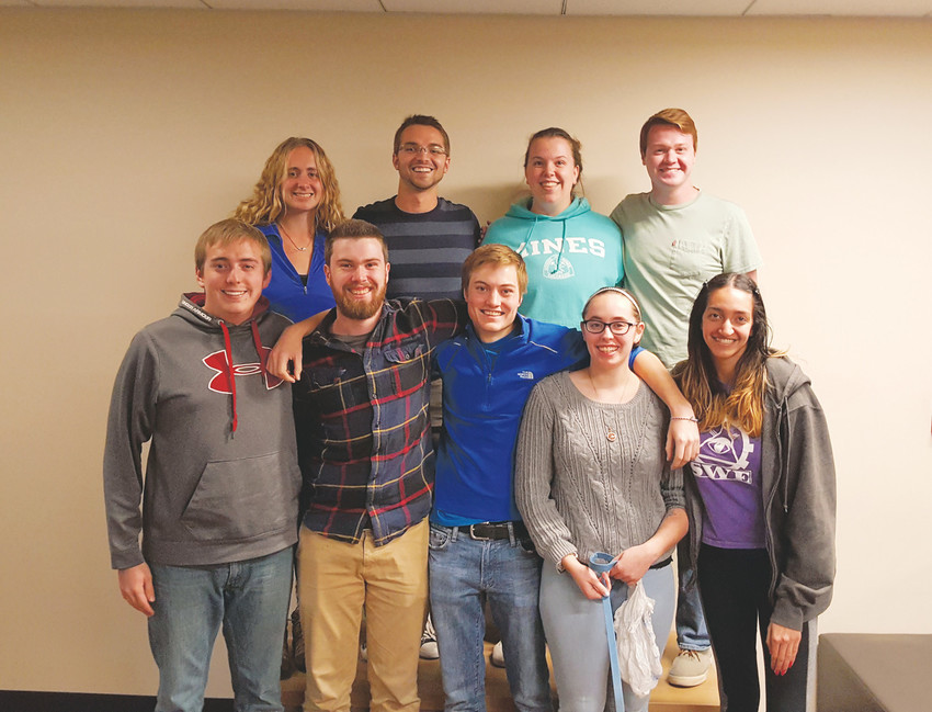 The Colorado School of Mines chapter of Alpha Phi Omega's National Service Week planning committee. Pictured, from left in the bottom row, are Daylin Gray, Matt Maino, Andrew Pace, Nicole Masters, and Hannah Levy; top row, from left, are Grace Gamba, Peter Weddle, Karyn Burry and Grayson Roecker.