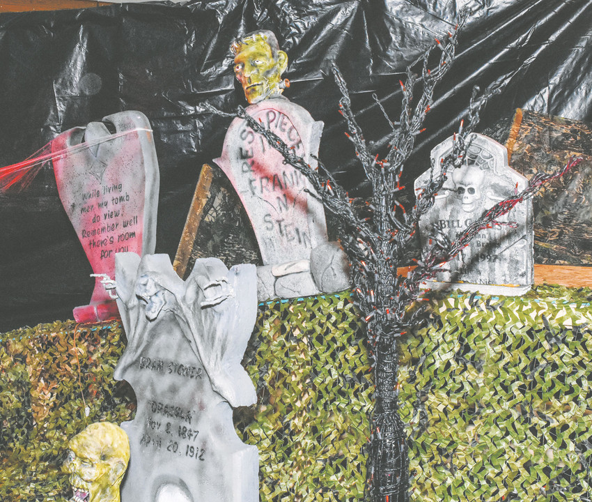 Styrofoam tombstones made by Northglenn Chief of Police James May, are featured in this year's Safe Streets Halloween, held at Northglenn High School on Saturday, October 28, 2017.