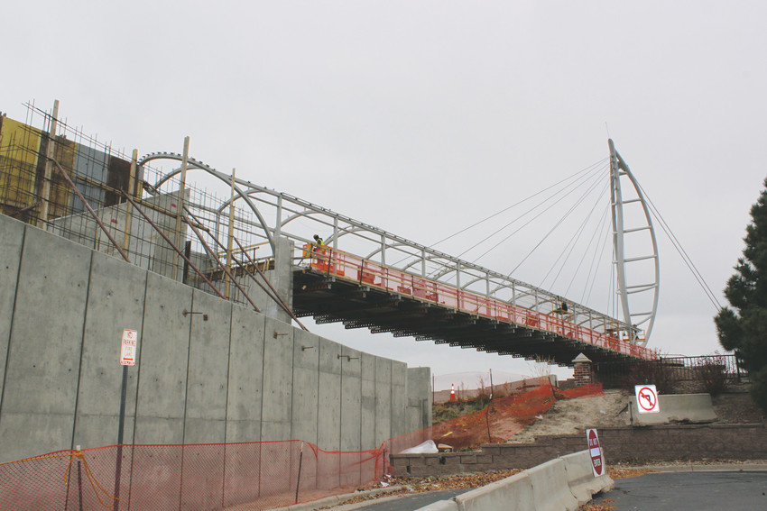 Construction continues on the pedestrian bridge crossing Lincoln. Crews anticipate completion by the end of the year barring any extreme weather.