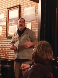 Tommy Scarborough, manager of the Alley on Main Street, Littleton, spoke to Historic Littleton VIP members about the renovation of the longtime commercial space, part of the original Culp Block. The Alley won an award for preservation of the property in May 2017.