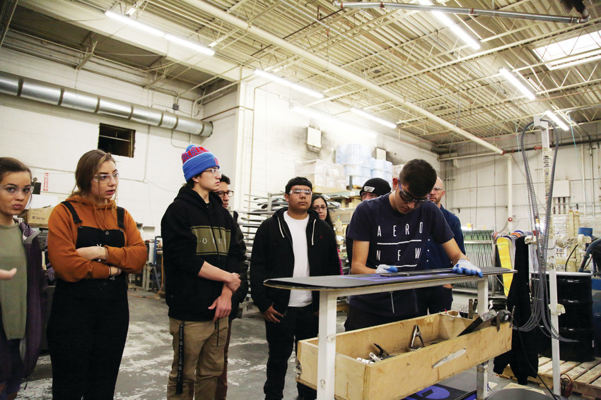 Students in the Warren Tech graphic design program toured the Never Summer headquarters in Denver Nov. 1.
