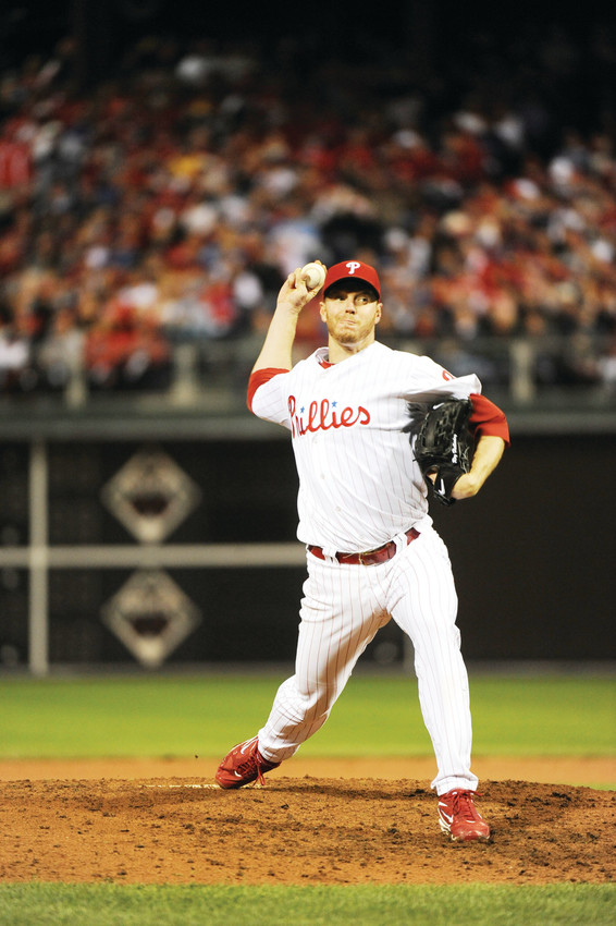 Roy Halladay pitches for the Philadelphia Philles in the National League Division Series game one against the Cincinnati Reds in 2010.