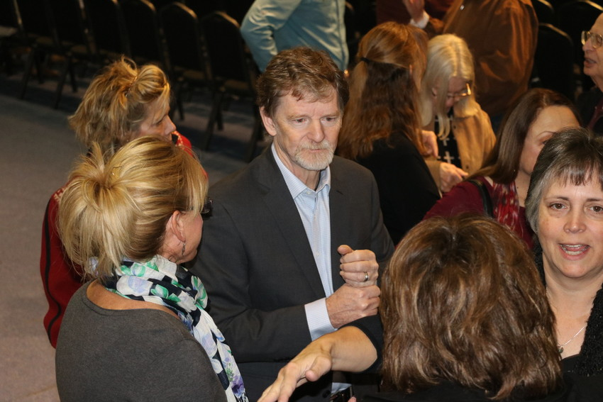 Jack Philips, owner of Lakewood's Masterpiece Bakery, meets with supporters before a rally held to support him before his Supreme Court case in December. Colorado Christian University's Centennial Institute held the religious freedom rally Nov. 8, featuring numerous faith leaders speaking about the importance of Philips' case.