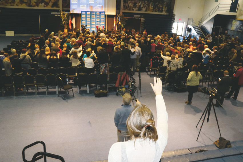 To close a religious freedom rally held at Colorado Christian University for Lakewood baker Jack Philips, Jeff Hunt, director of the college's Centennial Institute, lead a prayer and laying of hands on Philips.