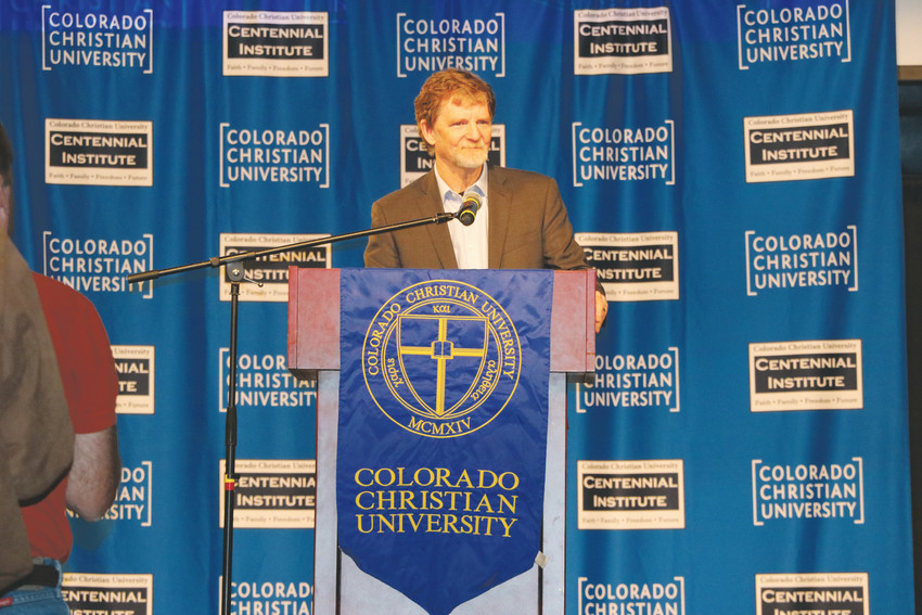 Jack Phillips, owner of Lakewood's Masterpiece Bakery, speaks at a rally held to support before his Supreme Court case in December. Colorado Christian University's Centennial Institute held the religious freedom rally on Nov. 8, featuring numerous faith leaders speaking about the importance of Philips' case.