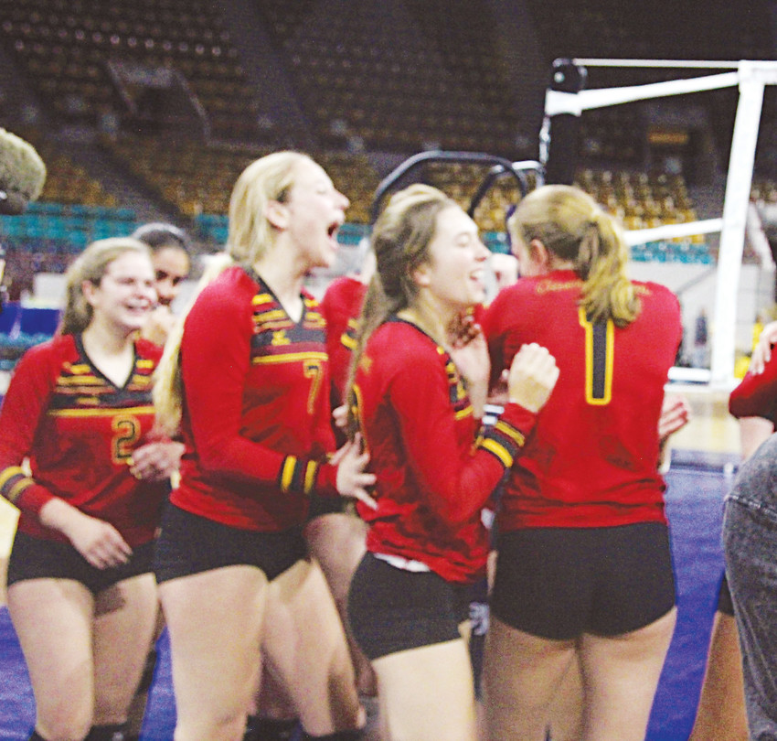 Castle View's volleyball team celebrates after winning the Class 5A state volleyball championship Nov. 1.