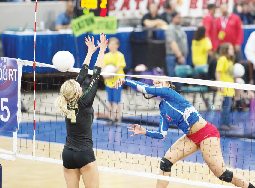 Cherry Creek's Payton Fehringer, right, launches her shot past Mountain Vista's Jordan McArthur.