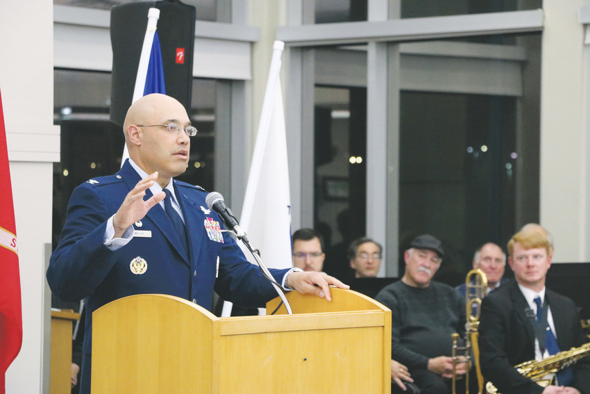 "Guest speaker Col. David Miller, commander of the 460th Space Wing of Buckley Air Force Base in Colorado, tells stories of his service at the Veterans Day Celebration on Nov. 11 at James H. LaRue, 9292 S Ridgeline Blvd. ""We need to say thanks,"" Miller said, ""because not a lot of people step up."""