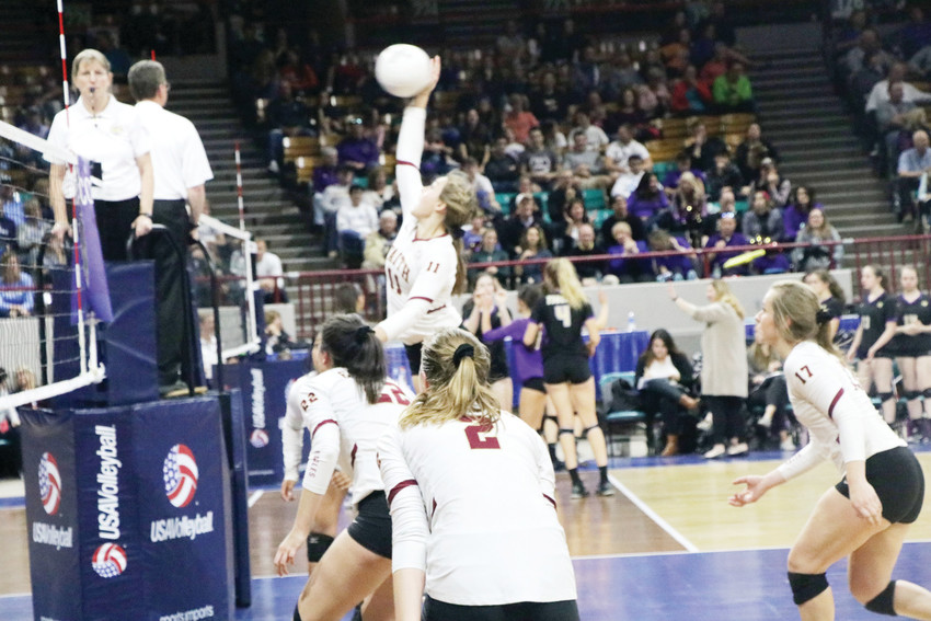 Sophia Kiester goes high in the air to drive the ball over the net for Faith Christian during the Nov. 11 semifinal match against Lutheran at the Class 3A state volleyball championship tournament played at the Denver Coliseum. The Tigers played well but Lutheran won the match 3-0. It was the final match of the season for Faith Christian as the posted a record 22-6 for 2016 which included the first trip to the state tournament in three years.