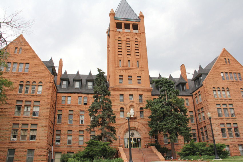 The historic administration building at Colorado Heights University in southwest Denver June 22. Originally part of Loretto Heights Academy, which opened in 1891, the campus became Teikyo Loretto Heights University in 1989 and Colorado Heights University in 2009.