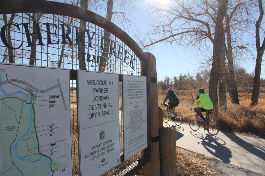 Bikers on the Cherry Creek Trail at the Parker Jordan Centennial Open Space Dec. 10. The approximately 107-acre open space, which Centennial previously had 50 percent ownership in, came under full ownership of the city after a Dec. 4 vote of its city council.