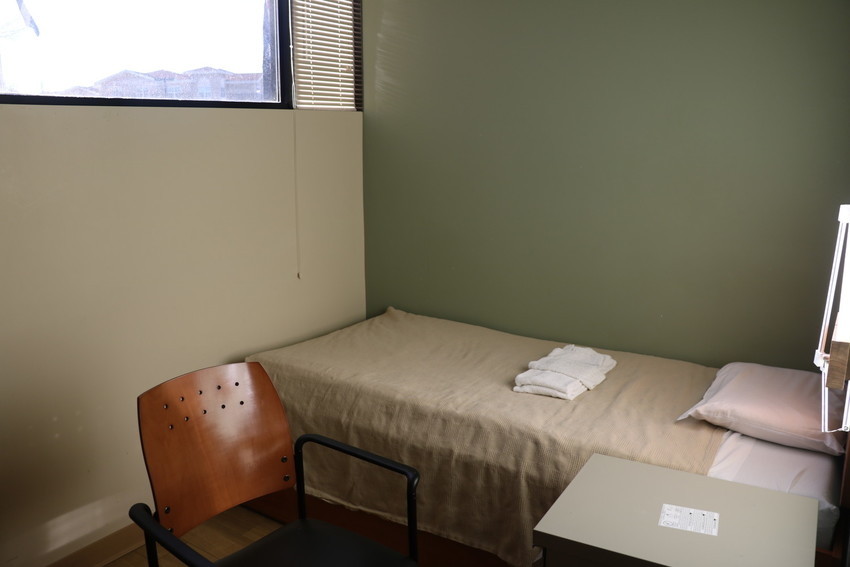 One of the 37 single-person rooms in Lakewood's Valor Point residence for homeless veterans. The facility provides needed resources to help veterans find housing and employment.