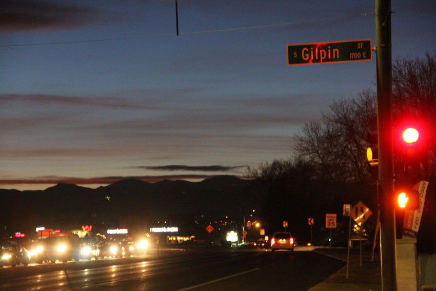 The intersection at South Gilpin Street and U.S. Highway 285, or East Hampden Avenue, on Dec. 29, in the area where two suspects were taken into custody after a bank robbery was reported at Vectra Bank at South Broadway and East Belleview Avenue that afternoon. The eastbound side of Hampden Avenue was closed down to one open lane near the time police stopped the suspects.