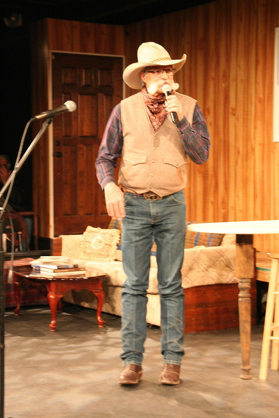 Reciting a poem about the good ol' cowboy days, Floyd Beard performs at last year's Colorado Cowboy Poetry Gathering VIP Sampler Show. Beard will also be performing at this year's event.