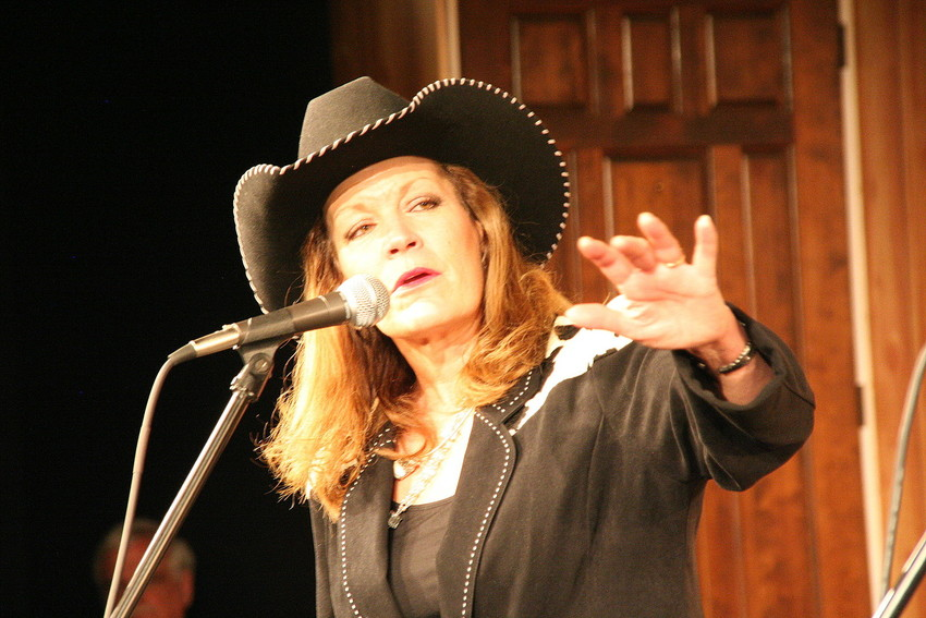 Susie Knight recites a poem at last year's Colorado Cowboy Poetry Gathering VIP Sampler Show. Knight, of Conifer, has won a number of awards as a performer through the years and will be performing at this year's gathering.