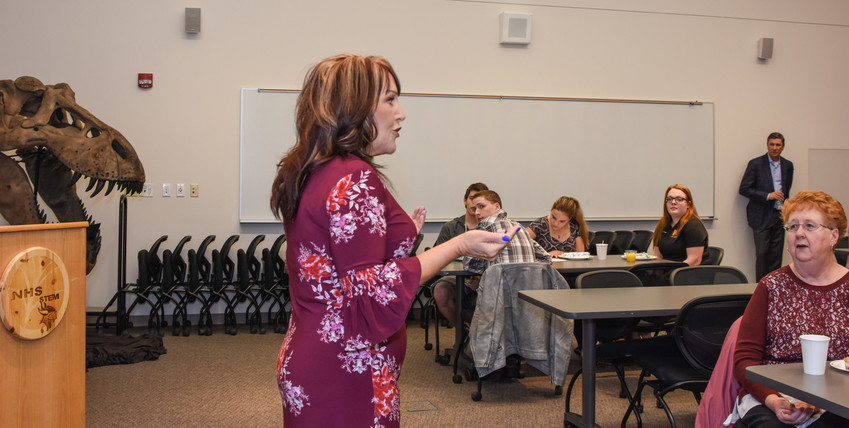 "Northglenn Mayor Carol Dodge, addresses constituents and students during the annual ""Breakfast with the Mayor"", at Northglenn High School, Monday, January 8, 2018"