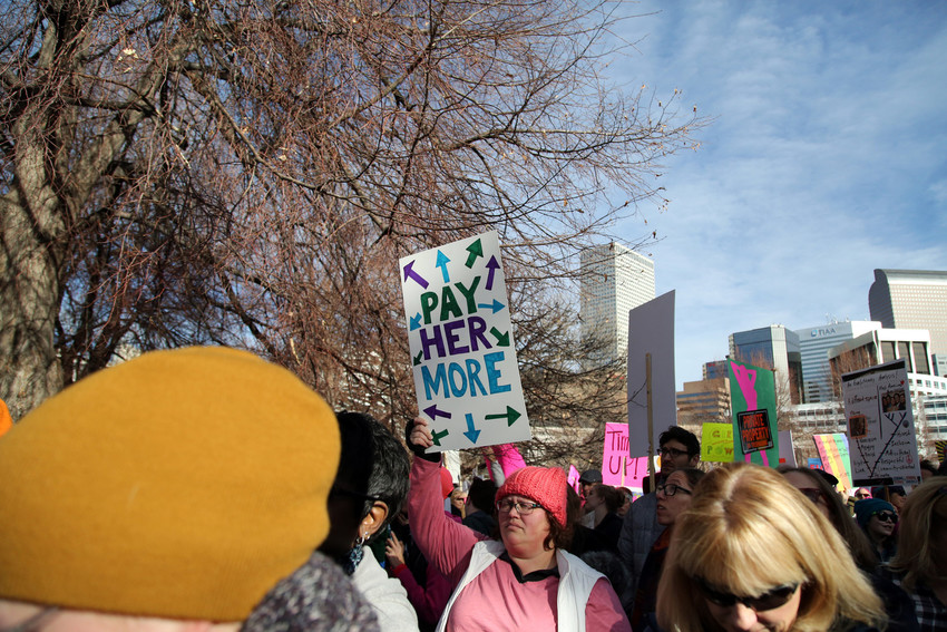 Equal pay for women still remains a top issue among protesters.