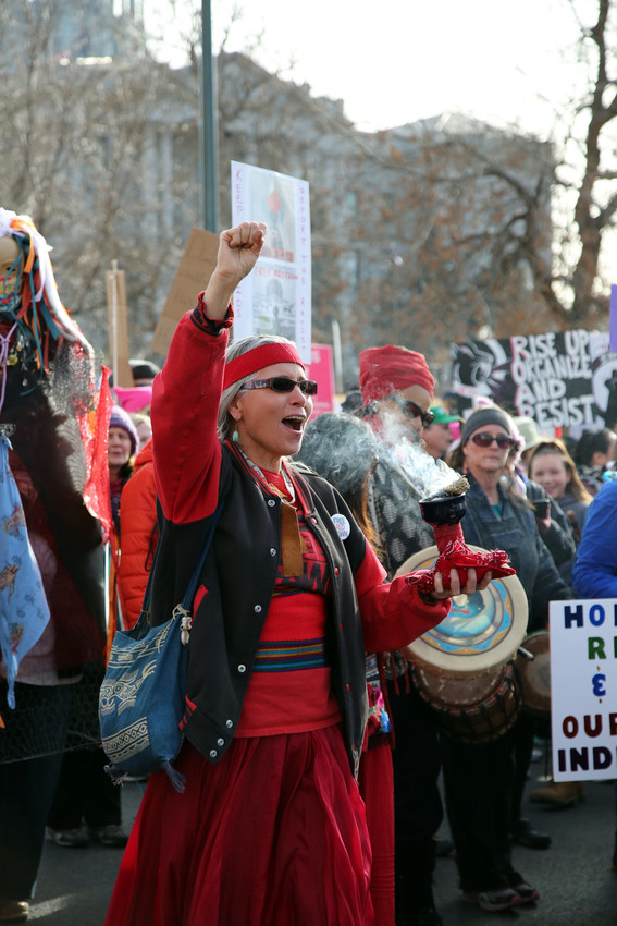 The march was led by a group of indigenous women.