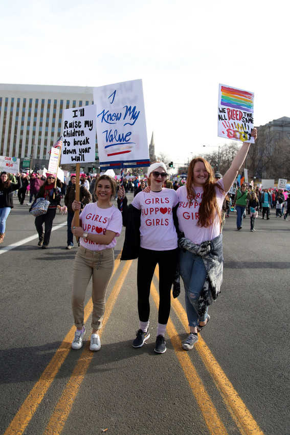 Pamela Zavala, Cheyenne Wells and Kayla Boyd traveled from Fort Lupton to march on Colorado.