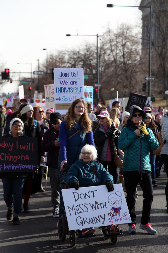 Marchers from across the state and beyond took to the streets of downtown Denver Saturday for the second annual Women's March on Colorado.