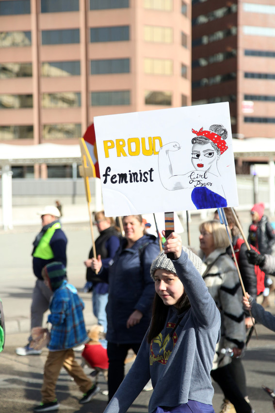 "Abigail Larsen, 13, traveled from Firestone to march in Denver. ""I think it's really important to see that so many people agree with me,"" she said. ""It's really encouraging to see people so I know I'm not alone."""