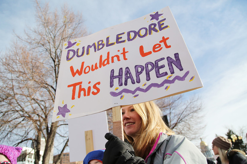 Grace Leonard, 14, of Denver, marched to show support of all women. She said Dumbledore would welcome everyone.