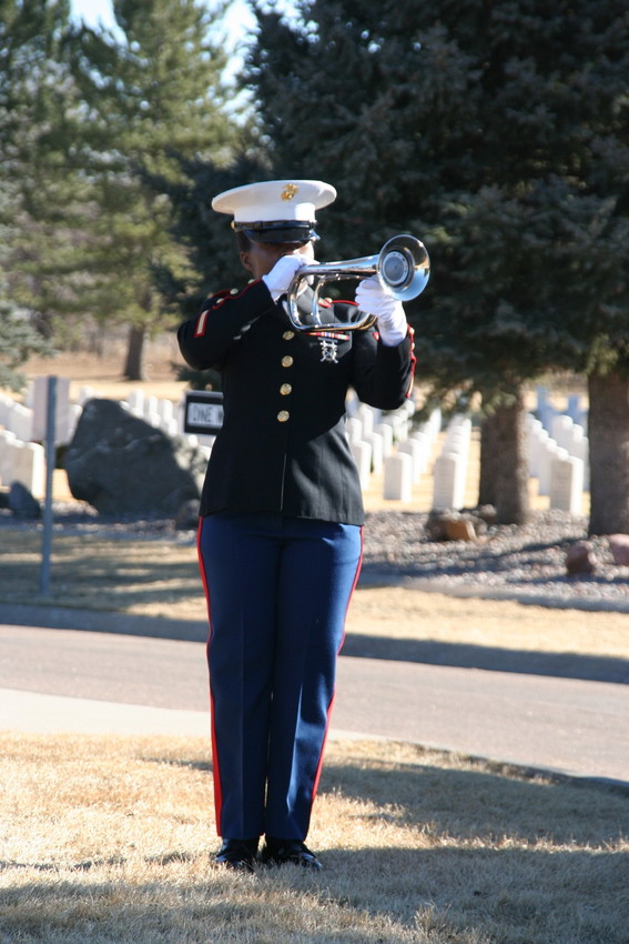 "The playing of ""Taps"" at the military service for Marine Sgt. Max Brown of Arvada, the afternoon of Jan. 11"