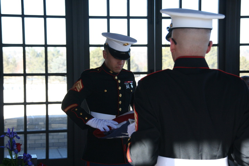 A scene from the military service for Marine Sgt. Max Brown of Arvada, the afternoon of Jan. 11