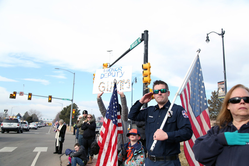 The streets near Flatirons Community Church in Lafayette were lined with community members who came to honor fallen Deputy Heath Gumm.