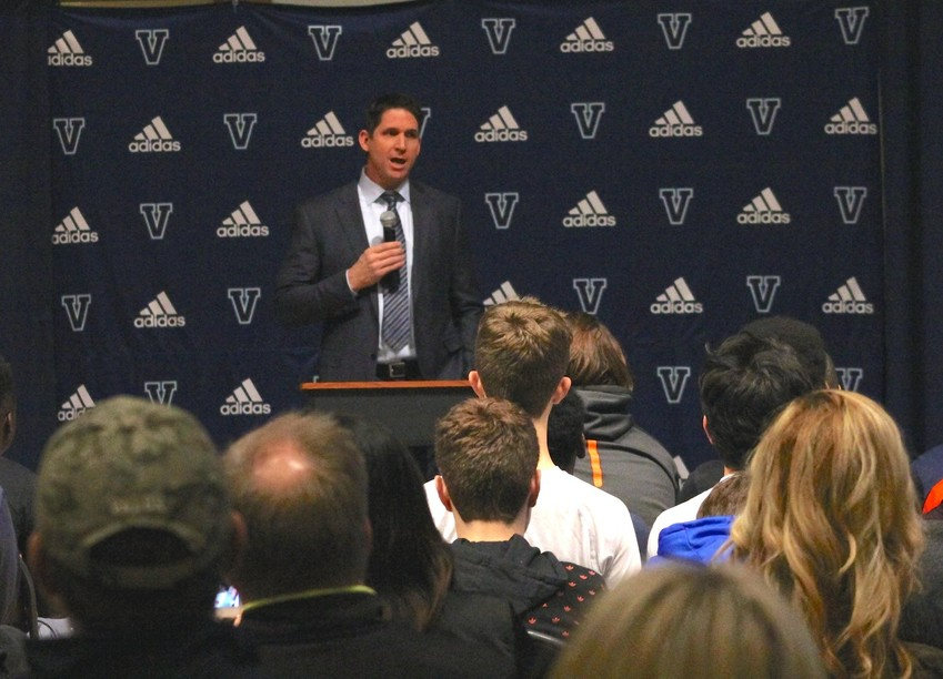 "Ed McCaffrey was introduced as the new Valor Christian football coach on Feb. 6. ""My approach is to do the best job I can to prepare these kids for football and life and help them grow physically, spirituality and emotionally and have a great high school experience,"" he told parents and players.  ""The lessons you learn from this sport last a lifetime and I'm hoping to provide that great experience."" Photo by Jim Benton"