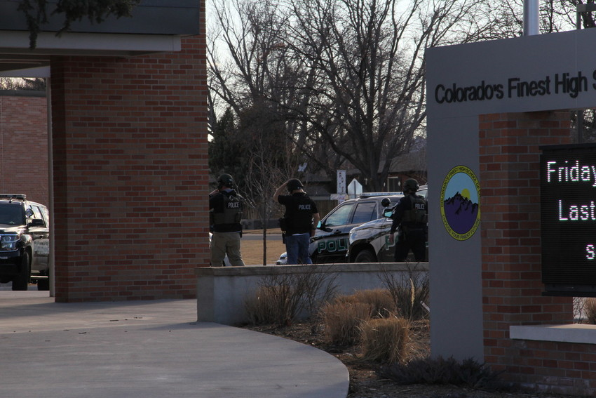 Englewood Police SWAT officers on scene at Colorado's Finest High School of Choice during a search of the school Feb. 7. During the lockdown, about 200 students who were in the building evacuated to Bishop Elementary School.