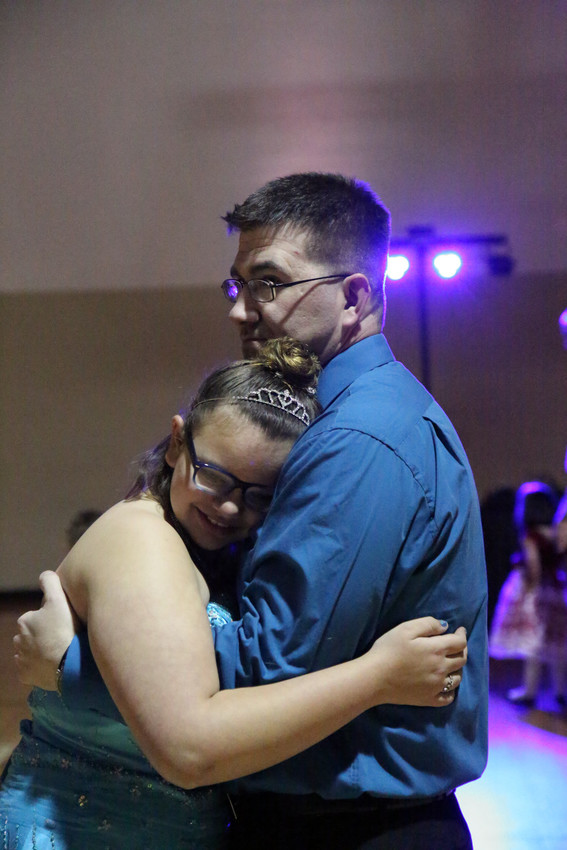 Annica Brumage dances with her dad, Michael Haggard at the YMCA Feb. 9.