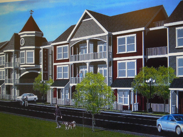 A conceptual rendering of Victorian Flats, a 146-unit condo complex proposed southwest of Pikes Peak Drive and Pikes Peak Court in downtown Parker.