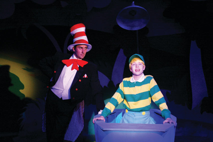 "Charlie Schmidt as the Cat in the Hat and Lars Lundberg as Jojo get acquainted in Town Hall Arts Center's production of the musical ""Seussical,"" which plays until Dec. 24."