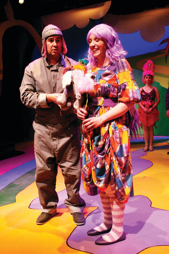 "2-Brian Murray (Horton) and Caitlin Conklin (Grertrude McFuzz) share a quiet moment in ""Seussical"" at Town Hall Arts Center."
