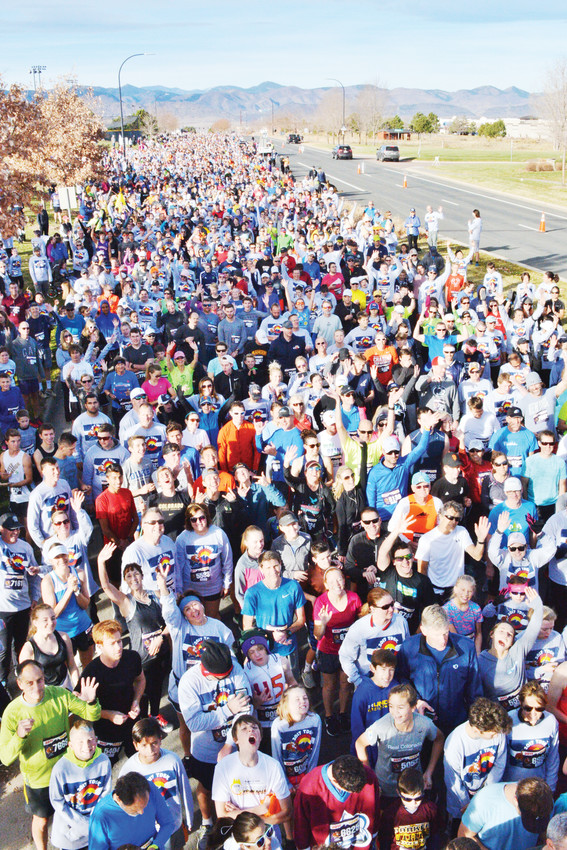 Thousands of participants run or walk a 3.1-mile route in Highlands Ranch for the annual Turkey Day 5K. Held on Thanksgiving morning, the event signals the start of the holiday season.