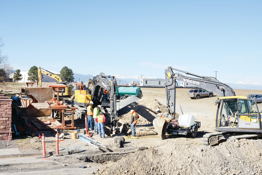 Water line repairs continue along Lowell Boulevard in Westminster. The project is part of the major water construction, including relocation of two nearby water tanks.