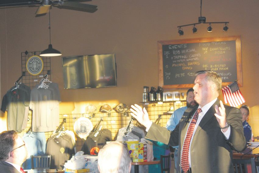 Douglas  County Commissioner David Weaver speaks to about 50 people at the Parker Republican Breakfast Club meeting Dec. 1 about his nomination by President Trump to fill the role of U.S. marshal for Colorado.