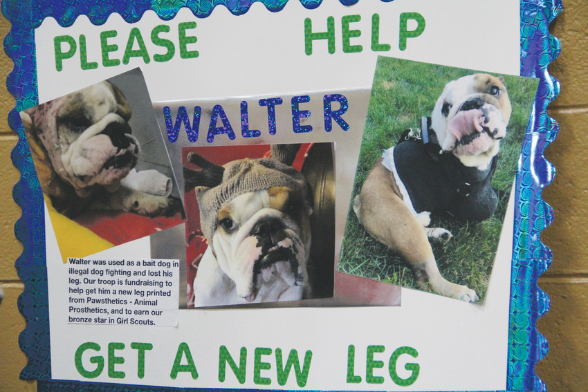 A poster at the three Girl Scouts' booth at Goodson Recreation Center Dec. 2. Walter, a dog in Connecticut, lost a leg when he was used in illegal dog-fighting. The girls made and sold crafts and other products to raise money for a new, 3D-printed leg for him.