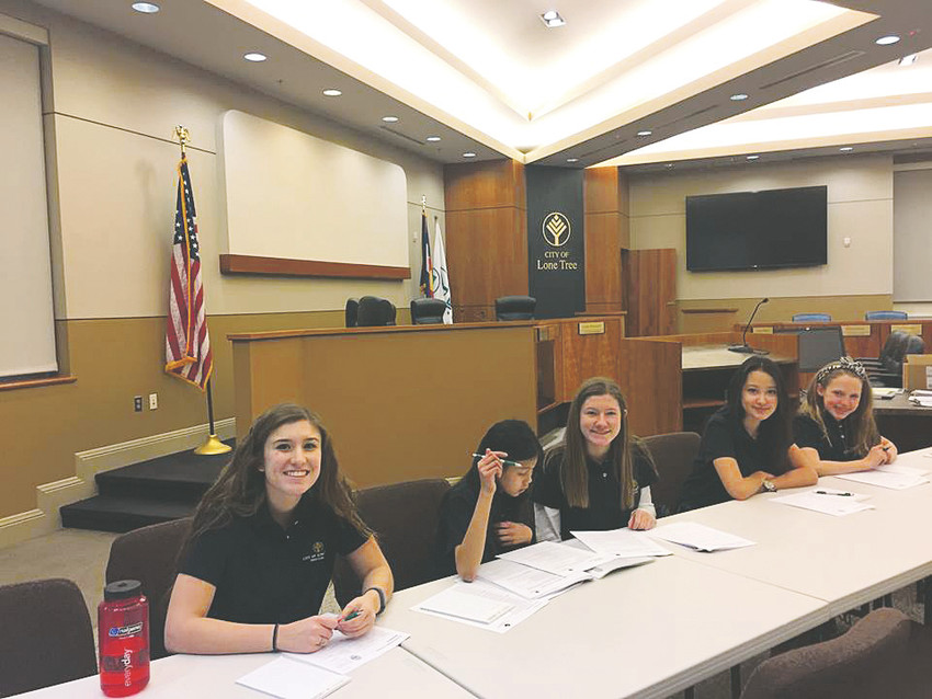 Members of Lone Tree's Teen Court sit in session. The court meets each Monday evening, and is conducted entirely by young people, including trial, jury duty and handing down of sentences.