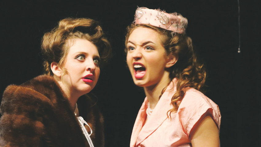 "Maya Claridge,'s character Veta Louise Simmons, left listens as  Annie Carpenter's Myrtle Mae Simmons makes a point during the October run of ""Harvey."""